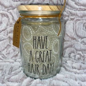 Rae Dunn HAVE A GREAT HAIR DAY hair ties jar